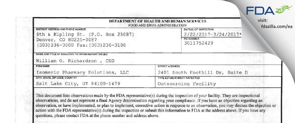 Isomeric Pharmacy Solutions FDA inspection 483 Mar 2017