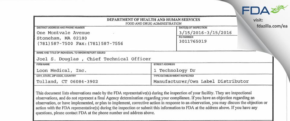 Loon Medical FDA inspection 483 Mar 2016
