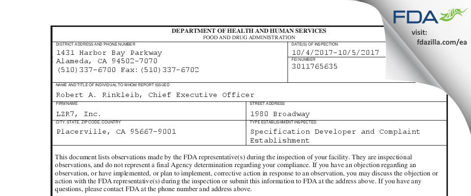 LZR7 FDA inspection 483 Oct 2017
