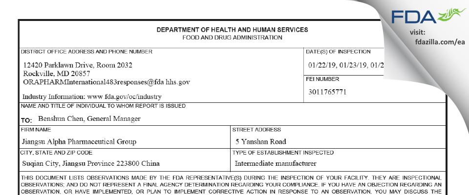 Jiangsu Alpha Pharmaceutical Group FDA inspection 483 Jan 2019