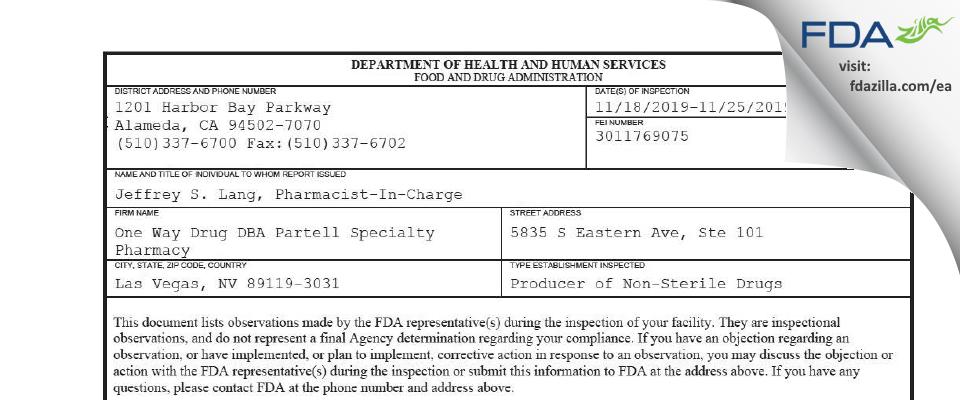 One Way Drug DBA Partell Specialty Pharmacy FDA inspection 483 Nov 2019