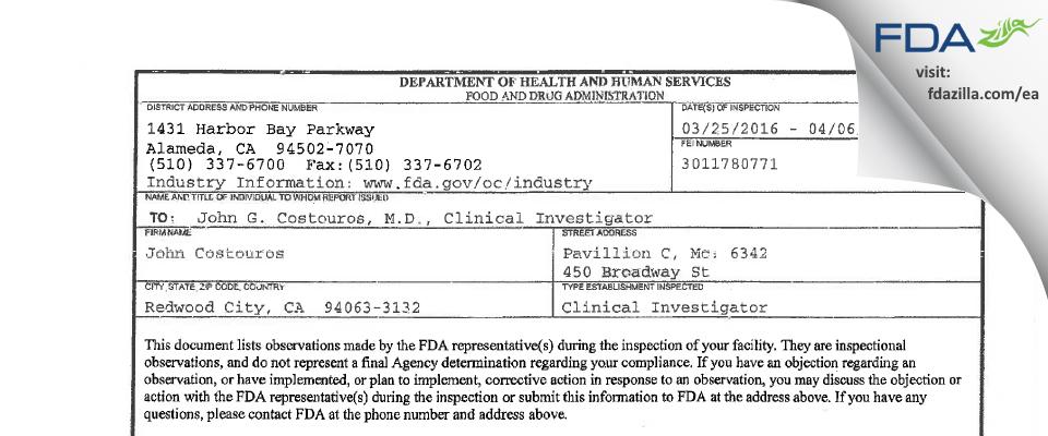 John G. Costouros, M.D. FDA inspection 483 Apr 2016