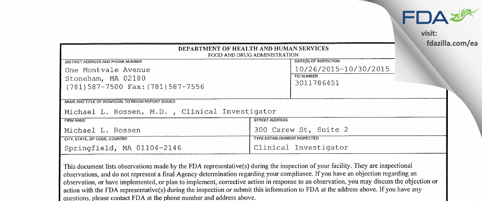 Michael L. Rossen FDA inspection 483 Oct 2015