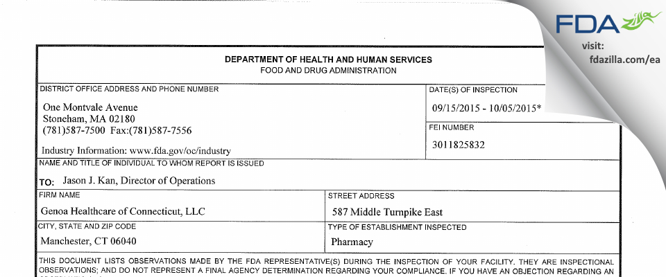 Genoa Healthcare of Connecticut FDA inspection 483 Oct 2015