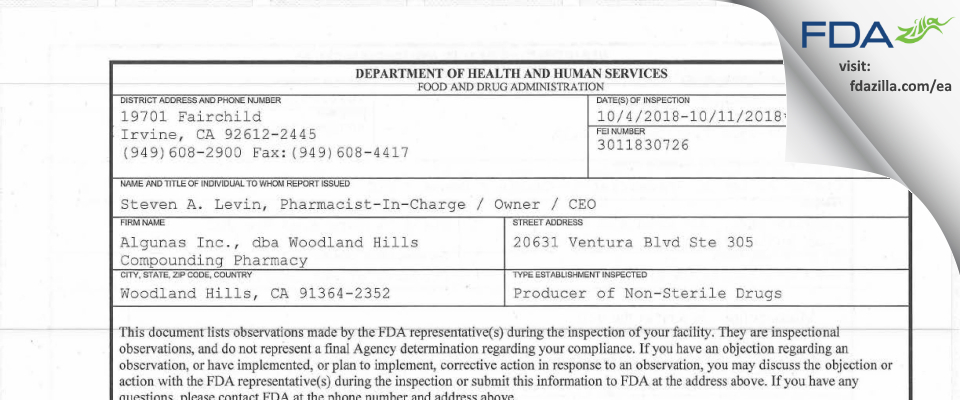 Algunas, dba Woodland Hills Compounding Pharmacy FDA inspection 483 Oct 2018