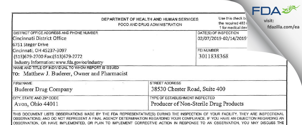Buderer Drug Company FDA inspection 483 Feb 2019