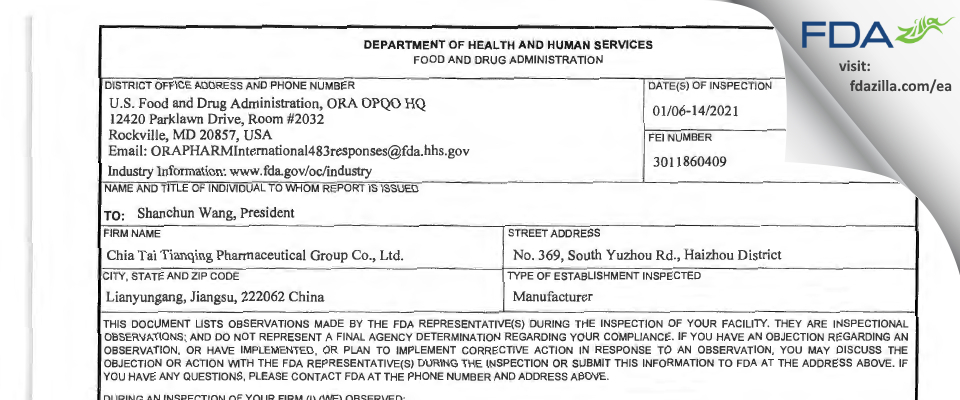 Chia Tai Tianqing Pharmaceutical Group FDA inspection 483 Jan 2021