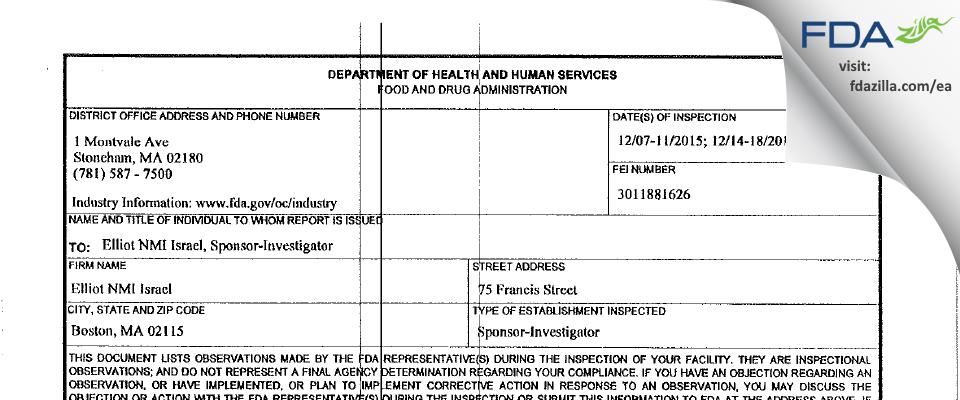 Elliott Israel, M.D. FDA inspection 483 Dec 2015