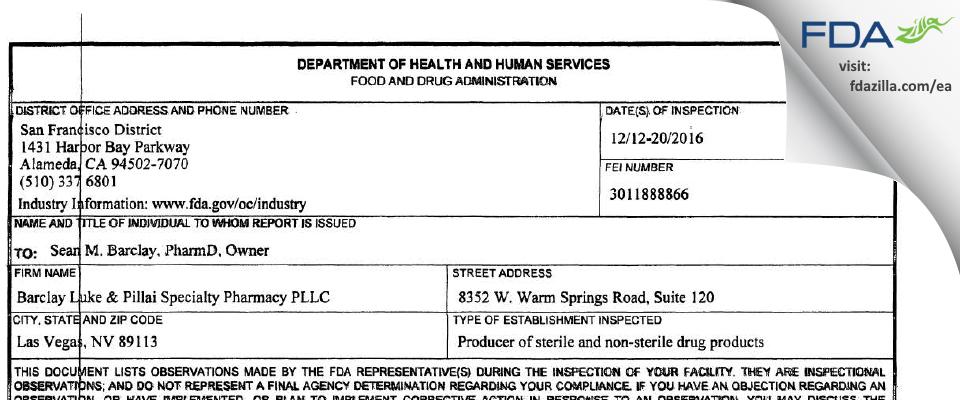 Meta Pharmacy Services FDA inspection 483 Dec 2016