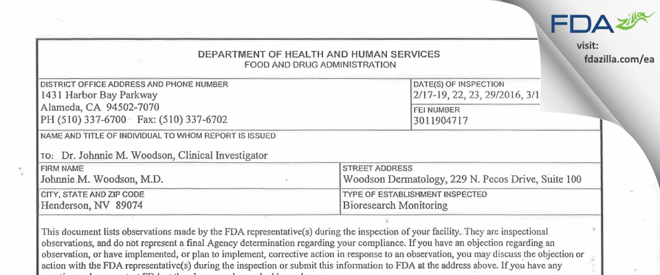 Johnnie M. Woodson FDA inspection 483 Mar 2016