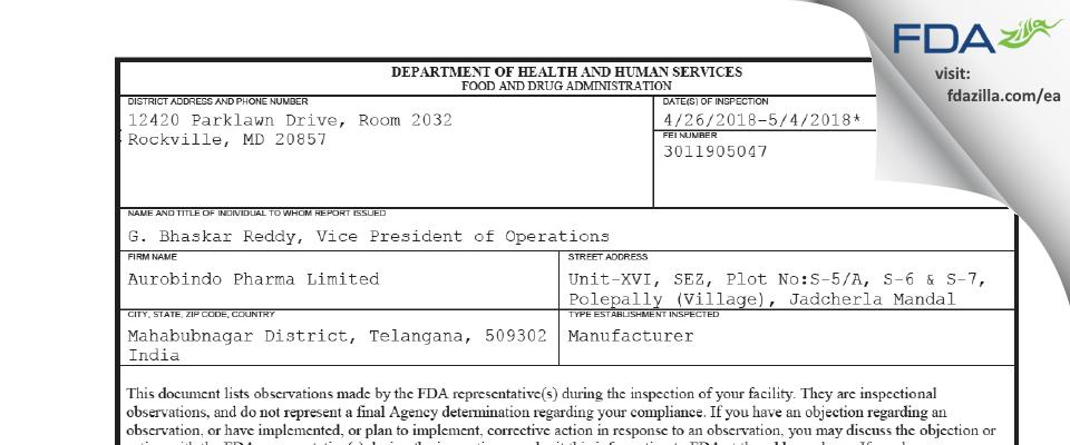 Aurobindo Pharma FDA inspection 483 May 2018