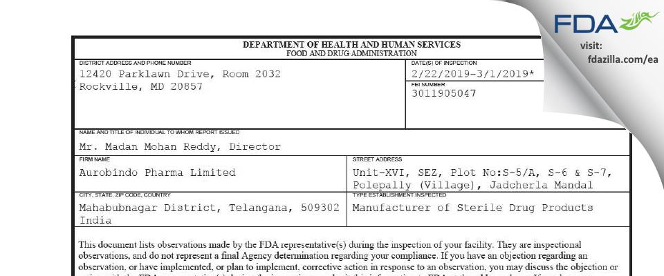 Aurobindo Pharma FDA inspection 483 Mar 2019