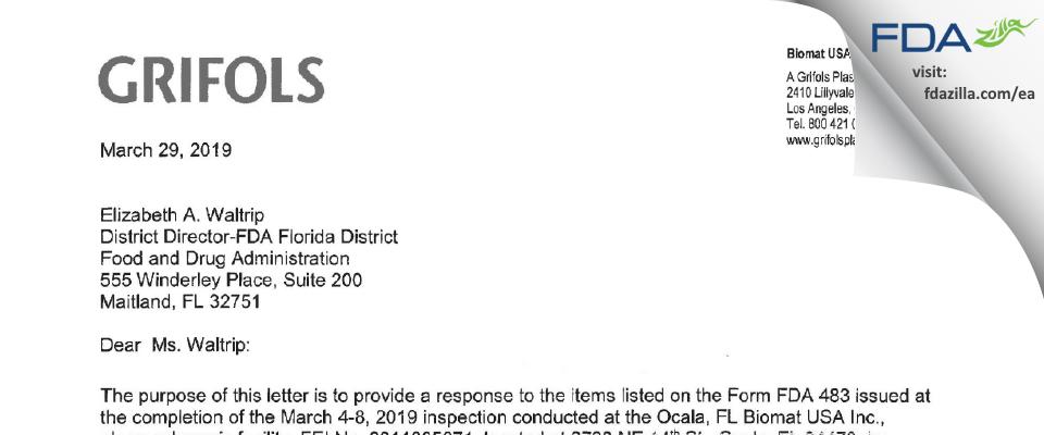 Biomat USA FDA inspection 483 Mar 2019