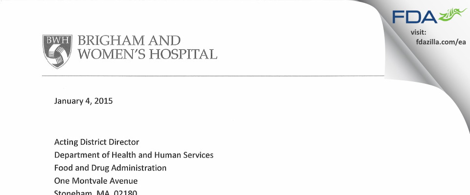 Brigham and Women's Hospital FDA inspection 483 Dec 2015