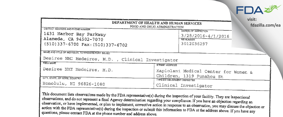 Desiree NMI Medeiros, M.D. FDA inspection 483 Apr 2016