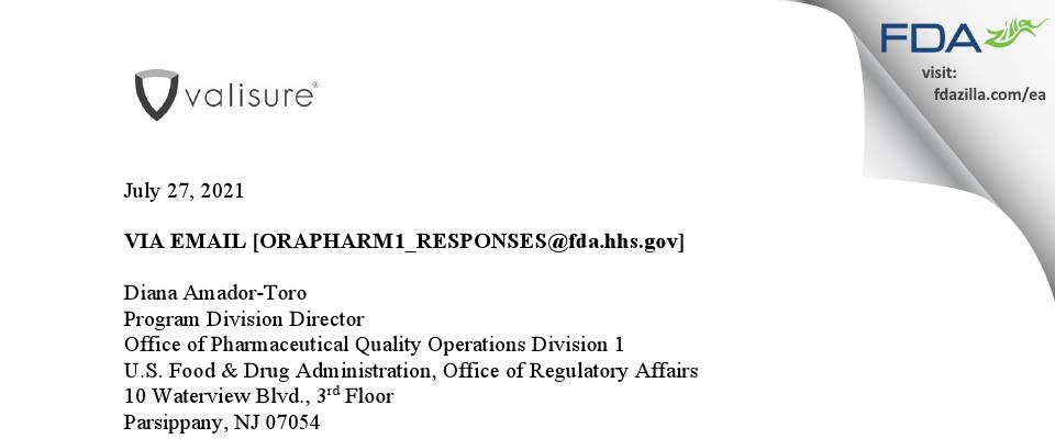Valisure FDA inspection 483 Jul 2021