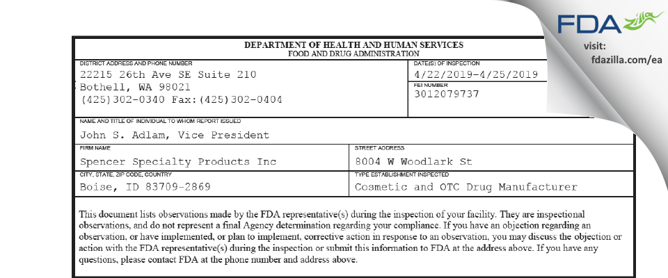 Spencer Specialty Products FDA inspection 483 Apr 2019