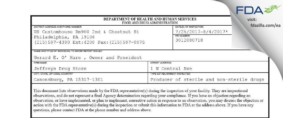 Jeffreys Drug Store FDA inspection 483 Aug 2017