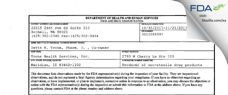 Trone Health Services FDA inspection 483 Nov 2017