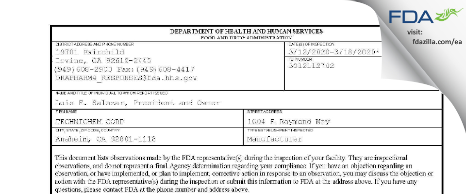 TECHNICHEM FDA inspection 483 Mar 2020