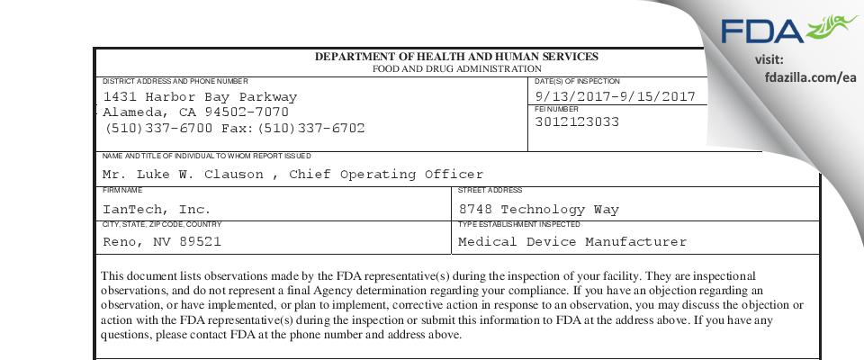 IanTech FDA inspection 483 Sep 2017