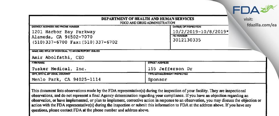 Tusker Medical FDA inspection 483 Oct 2019