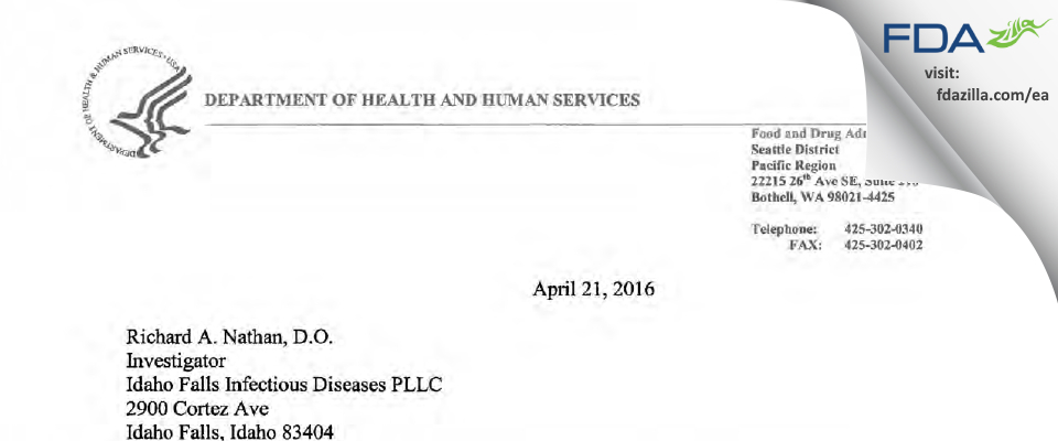 Richard A. Nathan, D.O. FDA inspection 483 Mar 2016