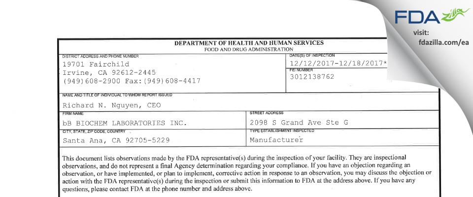bB BIOCHEM LABORATORIES. FDA inspection 483 Dec 2017