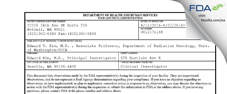 Edward Kim FDA inspection 483 Apr 2016