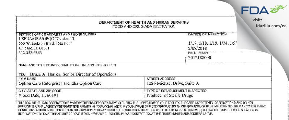 Option Care Enterprises dba Option Care FDA inspection 483 Feb 2018