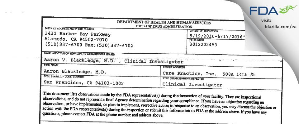 Aaron Blackledge, M.D. FDA inspection 483 Jun 2016