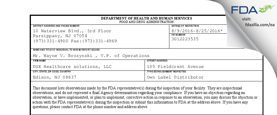 DSE Healthcare solutions FDA inspection 483 Aug 2016