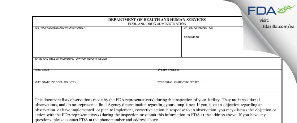 PRECIPART FDA inspection 483 Feb 2021