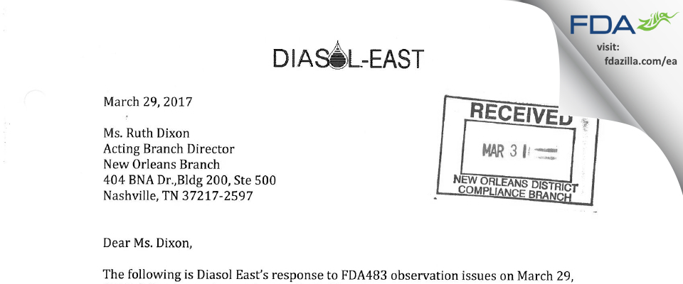 Diasol East FDA inspection 483 Mar 2017