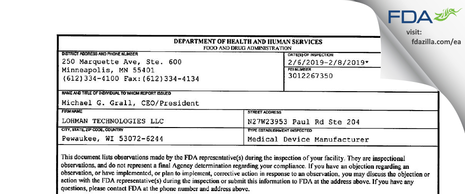 LOHMAN TECHNOLOGIES FDA inspection 483 Feb 2019