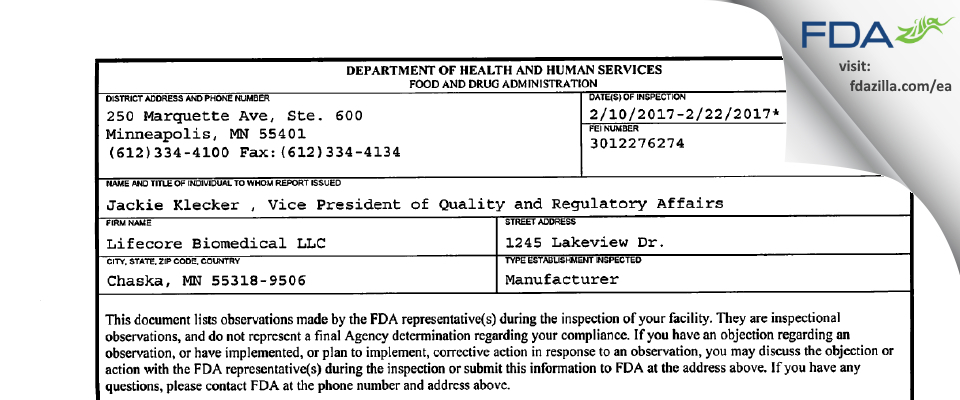 Lifecore Biomedical FDA inspection 483 Feb 2017