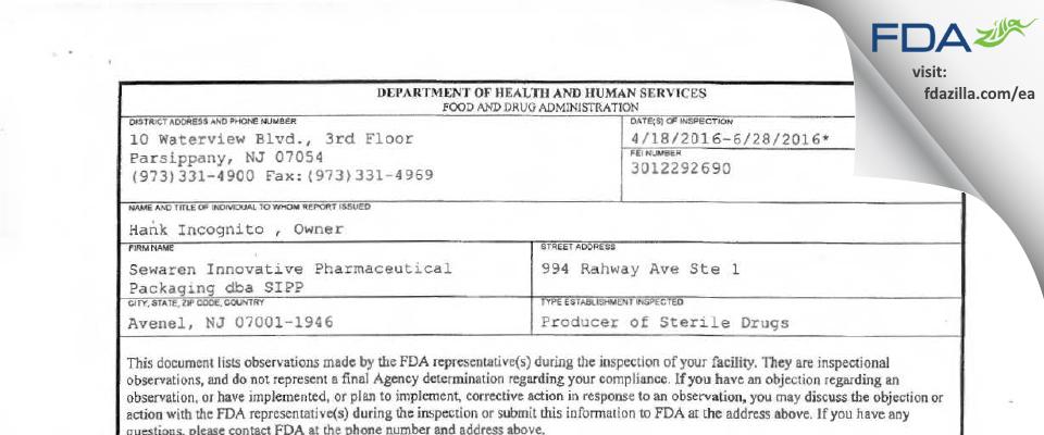 Sewaren Innovative Pharmaceutical Packaging dba SIPP FDA inspection 483 Jun 2016