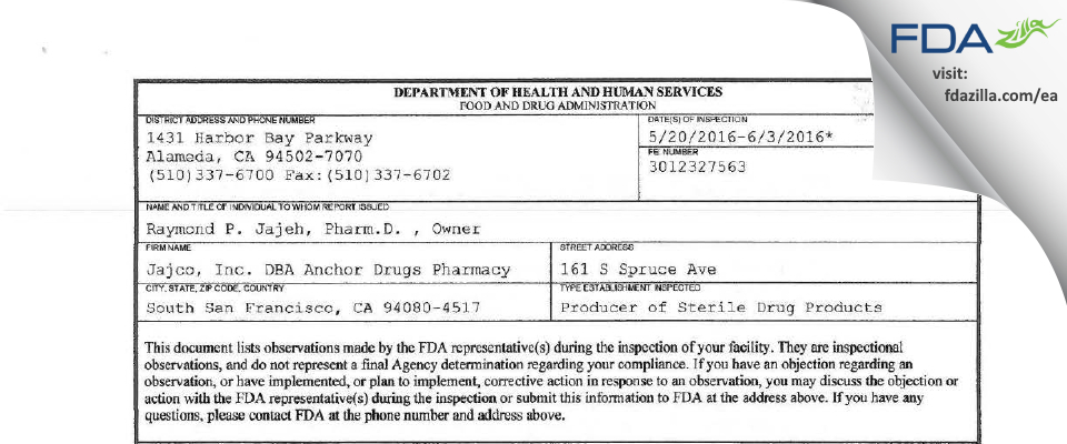 Jajco DBA Anchor Drugs Pharmacy FDA inspection 483 Jun 2016