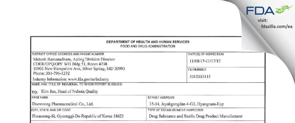 Daewoong Pharmaceutical_Hyangnam factory FDA inspection 483 Nov 2017