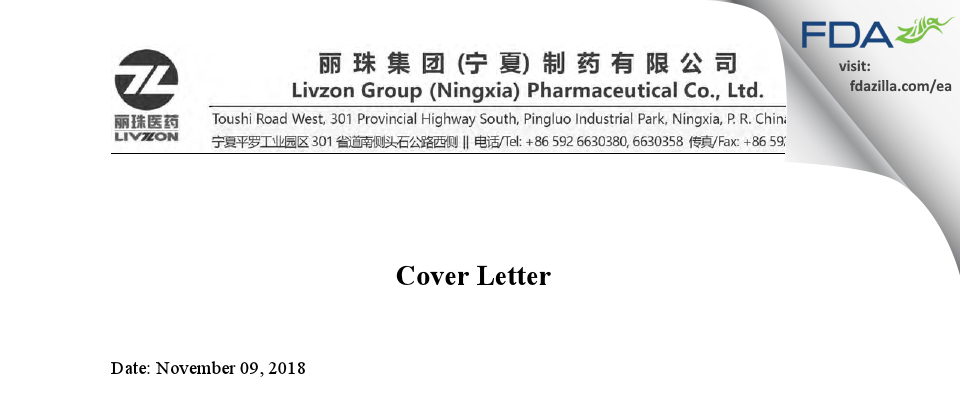 Livzon Group (Ningxia) Pharmaceutical FDA inspection 483 Oct 2018