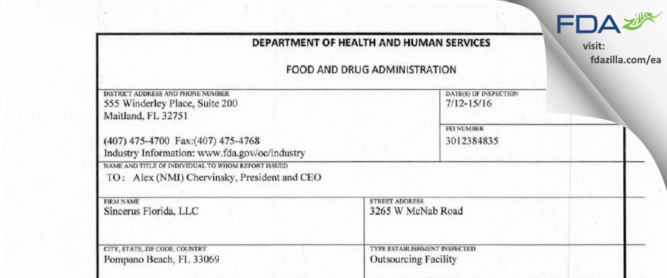 Sincerus Florida FDA inspection 483 Jul 2016