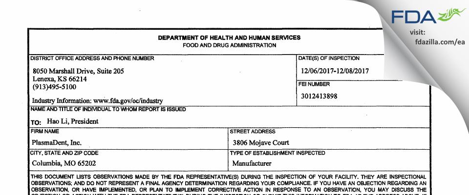 PlasmaDent FDA inspection 483 Dec 2017