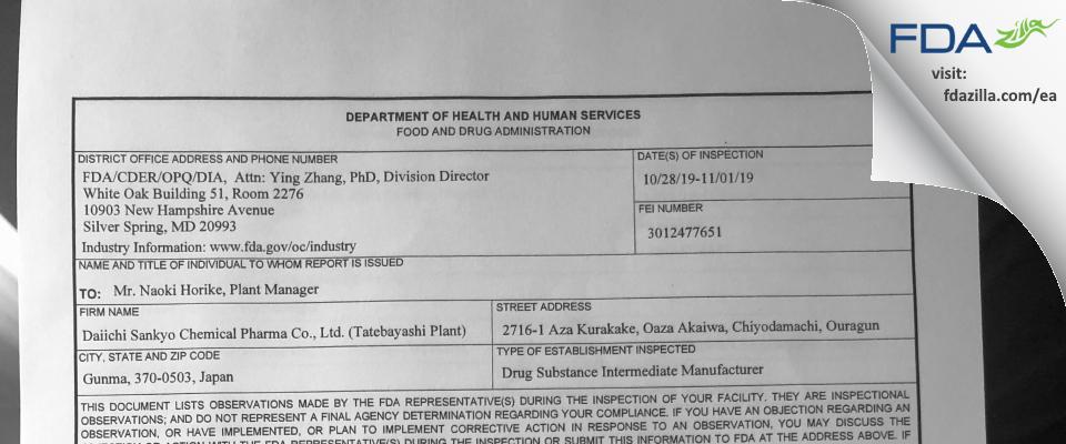 Daiichi Sankyo Chemical Pharma- Tatebayashi FDA inspection 483 Nov 2019