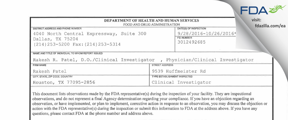 Rakesh Patel FDA inspection 483 Oct 2016