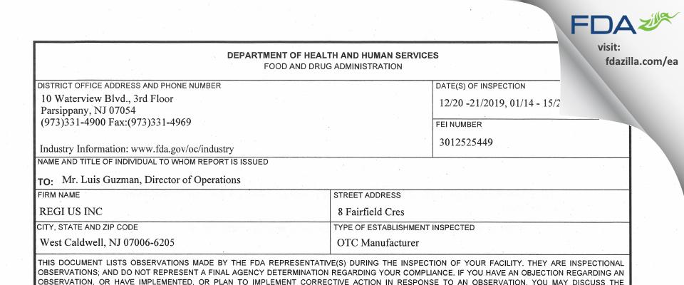 REGI US FDA inspection 483 Jan 2019
