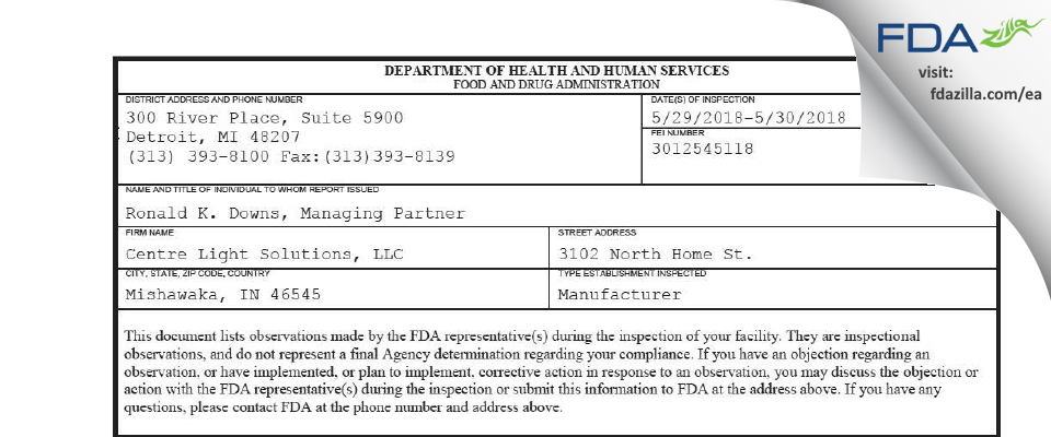 Centre Light Solutions FDA inspection 483 May 2018
