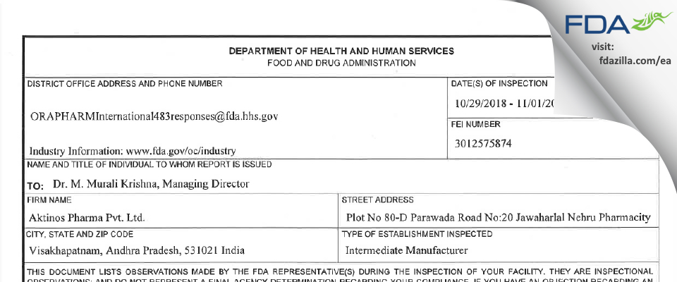 Aktinos Healthcare Private FDA inspection 483 Nov 2018