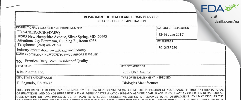 KITE PHARMA FDA inspection 483 Jun 2017