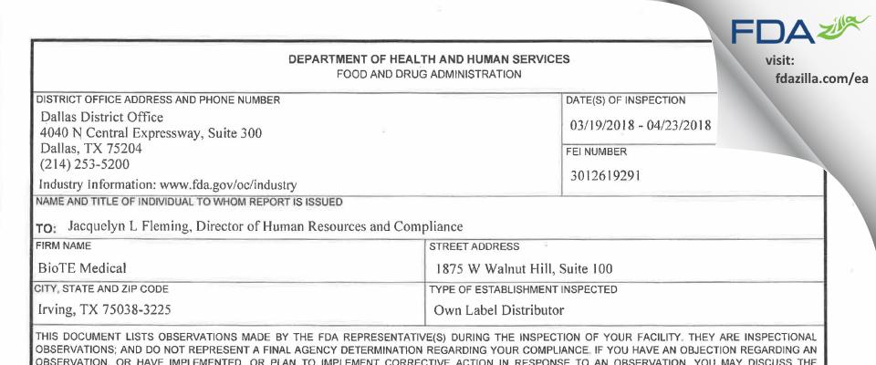 BioTE Medical FDA inspection 483 Apr 2018