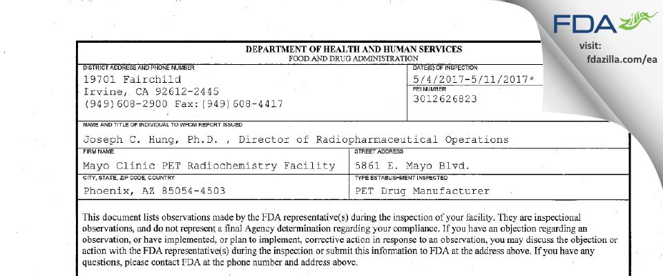 Mayo Clinic PET Radiochemistry Facility FDA inspection 483 May 2017